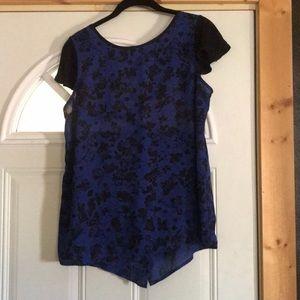 Royal blue flower print blouse